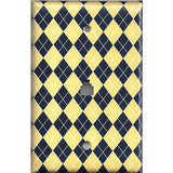 Phone Jack Cover in Yellow & Navy Blue Argyle Diamonds Handmade- Simply Chic Gal