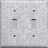 Double Toggle Light Switch Plate Cover in Silver Gray Grey Damask Print Handmade- Simply Chic Gal