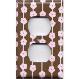 Wall Outlet Cover in Brown & Light Pink Flowers Floral Ribbons Handmade- Simply Chic Gal