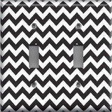Black Chevron Pattern Double Toggle Light Switch Plate Cover- Handmade Home Decor - Simply Chic Gal