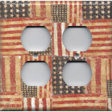 4 Plug Outlet Cover in Rustic American Flags Patriotic Decor