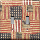 Double Toggle Light Switch Cover in Rustic American Flags Patriotic Decor