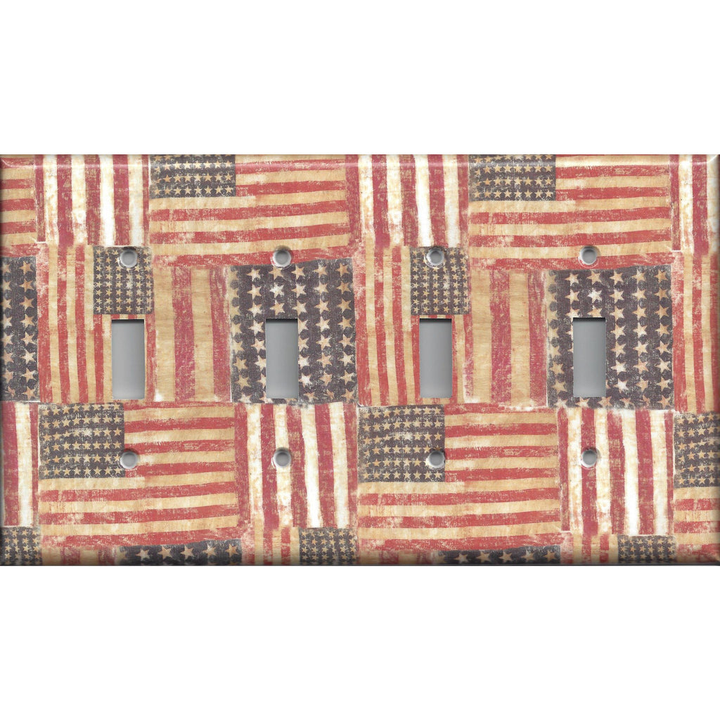 Quad Toggle Light Switch Cover in Rustic American Flags Patriotic Decor