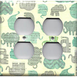 Baby Elephants Boys Nursery Blue Grey Gray 4 Plug Outlet Cover