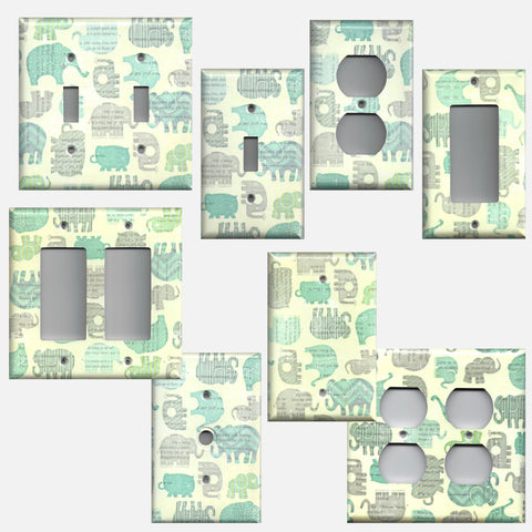 Baby Elephants Boys Nursery Blue Grey Gray Light Switch Plates and Outlet Covers