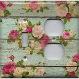 Combo Light Switch and Outlet Cover in Barnwood Rustic Farmhouse Floral