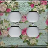 4 Plug Outlet Cover in Barnwood Rustic Farmhouse Floral