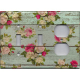 Combo 2 Toggle Light Switches and Outlet Cover in Barnwood Rustic Farmhouse Floral