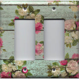 Double Rocker Decora Cover in Barnwood Rustic Farmhouse Floral