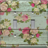 Double Toggle Light Switch Cover in Barnwood Rustic Farmhouse Floral