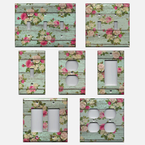 Barnwood Rustic Farmhouse Floral Light Switch Plate Covers & Outlet Covers