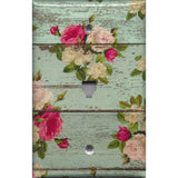 Phone Jack Cover in Barnwood Rustic Farmhouse Floral