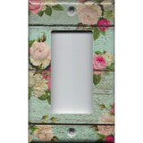 Single Rocker Decora GFI Outlet Cover in Barnwood Rustic Farmhouse Floral