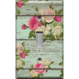 Single Toggle Light Switch Cover in Barnwood Rustic Farmhouse Floral