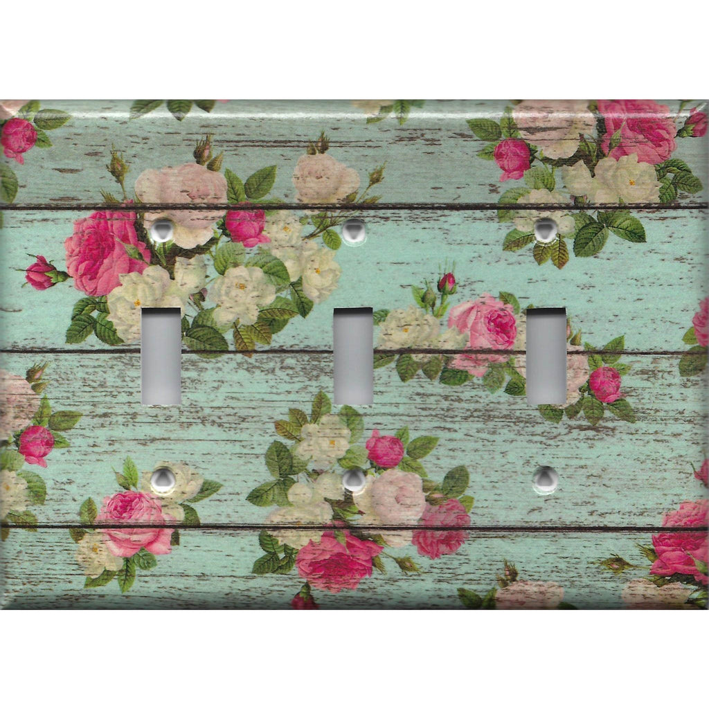 Triple Toggle Light Switch Cover in Barnwood Rustic Farmhouse Floral