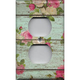 Wall Outlet Cover in Barnwood Rustic Farmhouse Floral