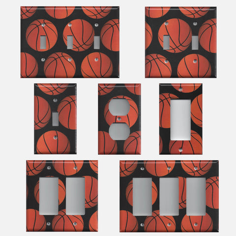 Basketball Sports Theme Kids Room Light Switch Covers & Wall Outlet Covers Handmade Bedroom Decor