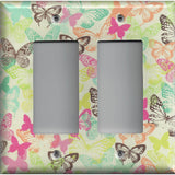 Double Rocker Decora Light Switch Cover in Multi Color Pastel Butterflies