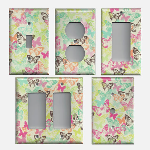 Multi Color Butterflies on Beige Background Light Switchplates & Outlet Covers