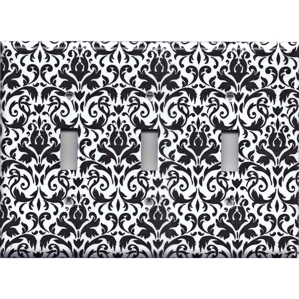 Black and White Damask Triple Toggle Light Switch Plate Cover- Handmade Home Decor- Simply Chic Gal