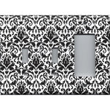 Black and White Damask Combo 2 Light Switches and Rocker GFI Outlet Cover- Handmade Home Decor
