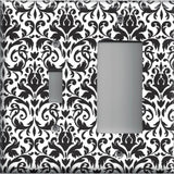 Black and White Damask Combo Light Switch and Rocker GFI Outlet Cover- Handmade Home Decor
