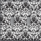 Black and White Damask Double Toggle Light Switch Plate Cover- Handmade Home Decor- Simply Chic Gal