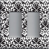 Black and White Damask Double Rocker Decora GFI Outlet Cover- Handmade Home Decor- Simply Chic Gal