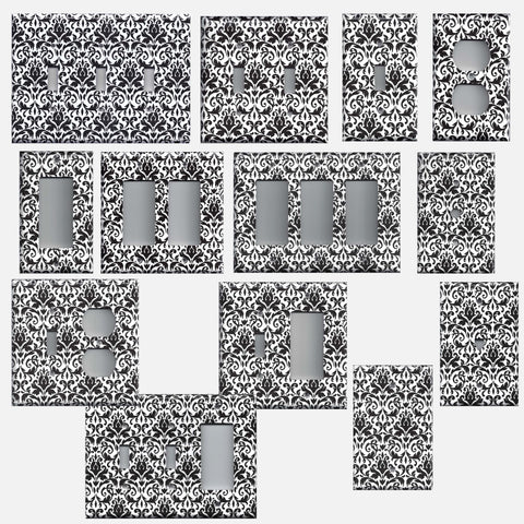Black and White Floral Damask Hand Made Light Switchplates & Outlet Covers
