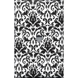 Black and White Damask Phone Jack Cover- Handmade Home Decor- Simply Chic Gal