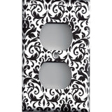 Black and White Damask Wall Outlet Cover- Handmade Home Decor- Simply Chic Gal