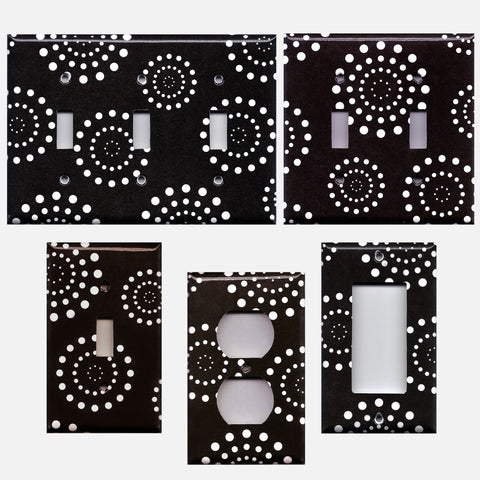 Black and White Starburst Dots Fireworks Light Switch Plates and Wall Outlet Covers