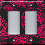 Hot Pink Floral Paisley on Black Background Light Switch Plates & Outlet Covers