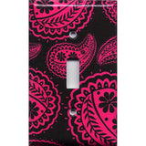 Single Toggle Light Switch Cover in Black and Hot Pink Floral Paisley Print