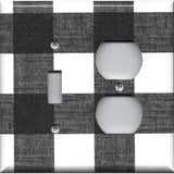 Combo Light Switch and Outlet Cover in Black and White Buffalo Check Handmad- Simply Chic Gal