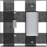 Combo Light and Rocker GFI Outlet Cover in Black and White Buffalo Check Handmad- Simply Chic Gal