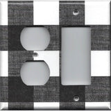 Black and White Buffalo Check Plaid Light Switch Covers & Outlet Covers Handmade Home Decor