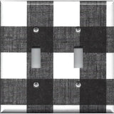 Double Toggle Light Switch Plate in Black and White Buffalo Check Handmade Simply Chic Gal