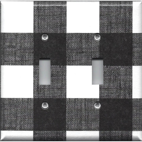 Farmhouse Black And White Buffalo Check Light Switch Outlet Covers