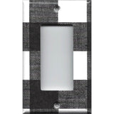 Single Rocker Decora GFI Outlet Cover in Black and White Buffalo Check Handmad- Simply Chic Gal