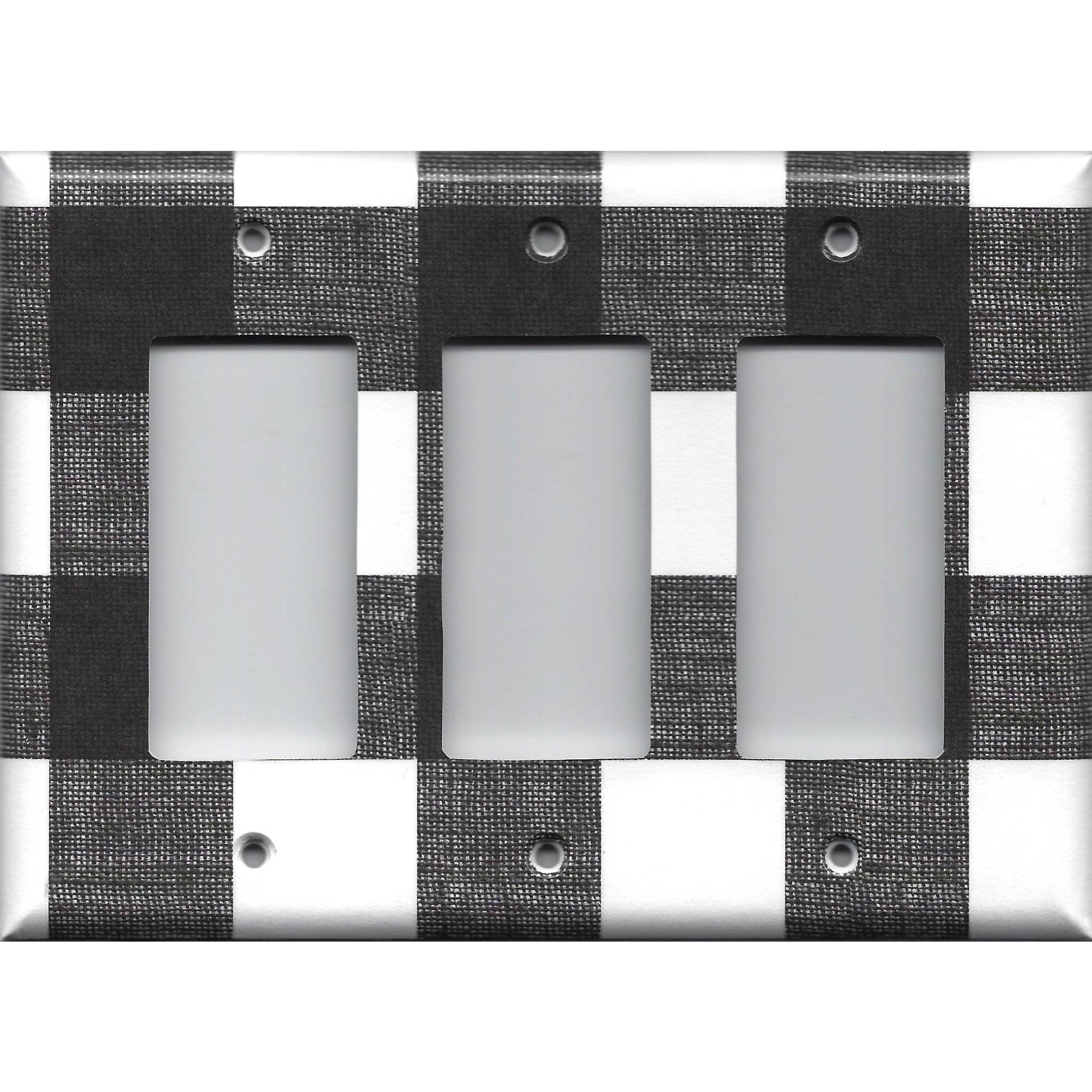 BLACK AND WHITE GINGHAM HOME DECOR DOUBLE ROCKER GFI SWITCH PLATE
