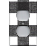 Black and White Buffalo Check Plaid Wall Outlet Cover- Handmade Home Decor- Simply Chic Gal
