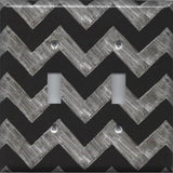 Double Toggle Light Switch Cover in Faux Chalkboard Art Chevron Print Handmade- Simply Chic Gal