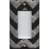 Single Rocker Decora GFCI Outlet Cover in Faux Chalkboard Art Chevron Print Handmade Simply Chic Gal