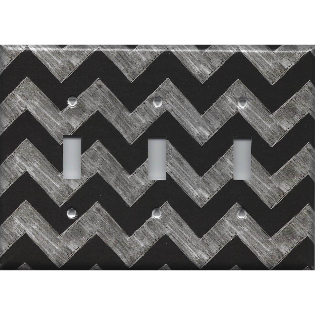 Triple Toggle Light Switch Cover in Faux Chalkboard Art Chevron Print Handmade- Simply Chic Gal