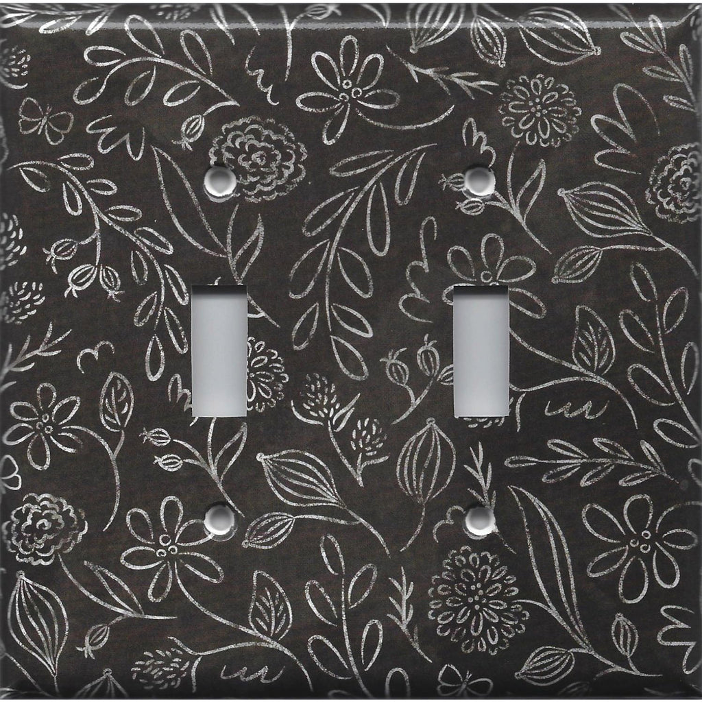 Faux Chalkboard Flowers Farmhouse Style Light Switch Plates and Outlet Covers