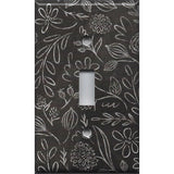 Single Toggle Light Switch Cover in Faux Chalkboard Flowers Farmhouse Decor