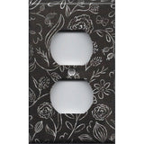 Wall Outlet Plate Cover in Faux Chalkboard Flowers Farmhouse Decor