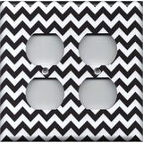 Black Chevron Pattern 4 Plug Outlet Cover- Handmade Home Decor - Simply Chic Gal
