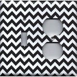 Black Chevron Pattern Combo Light Switch and Outlet Cover- Handmade Home Decor - Simply Chic Gal